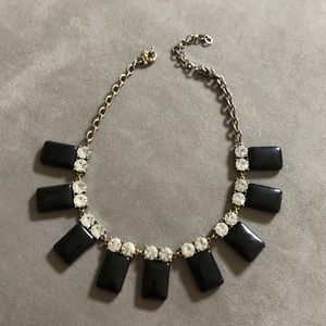 J. Crew black and rhinestone statement necklace